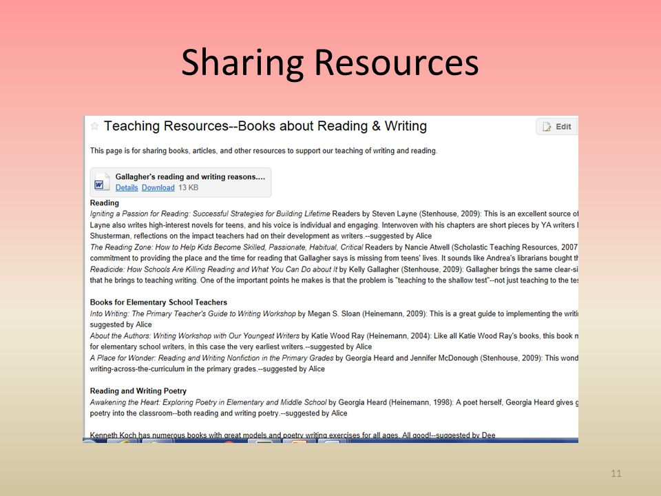 Sharing Resources 11