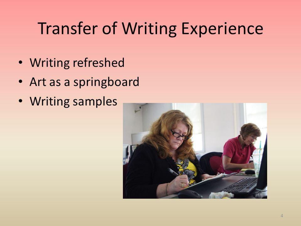 Transfer of Writing Experience Writing refreshed Art as a springboard Writing samples 4