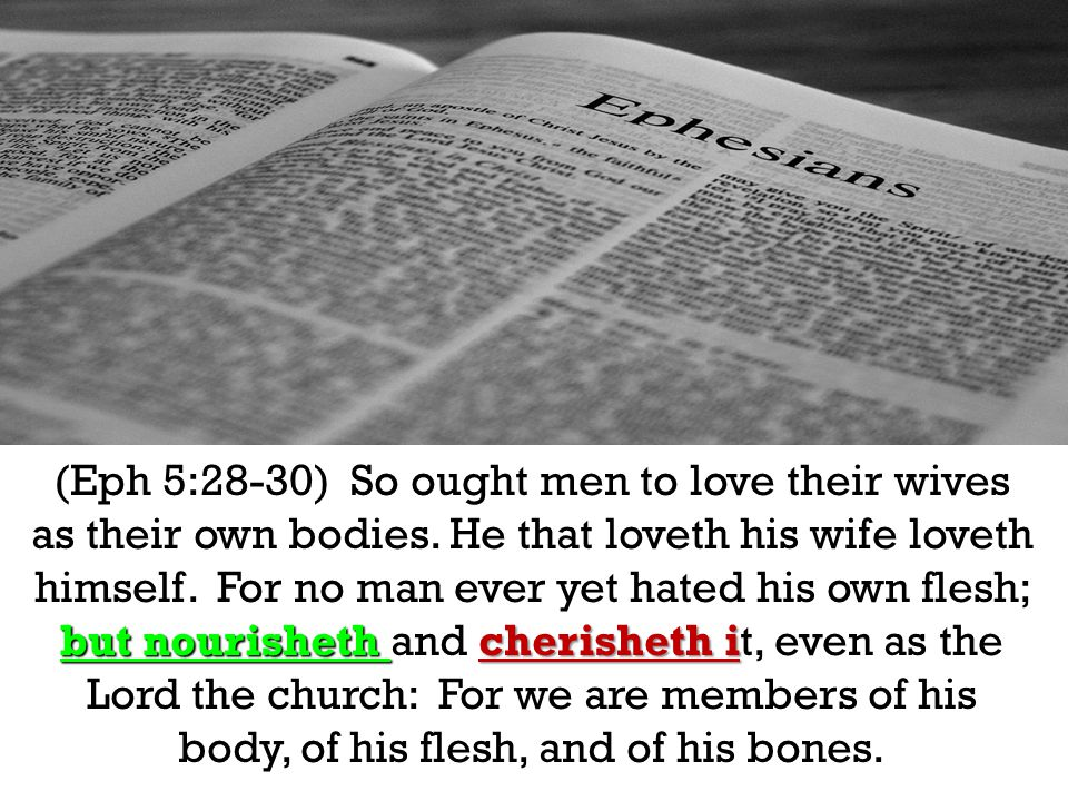 but nourisheth cherisheth i (Eph 5:28-30) So ought men to love their wives as their own bodies. He that loveth his wife loveth himself. For no man eve
