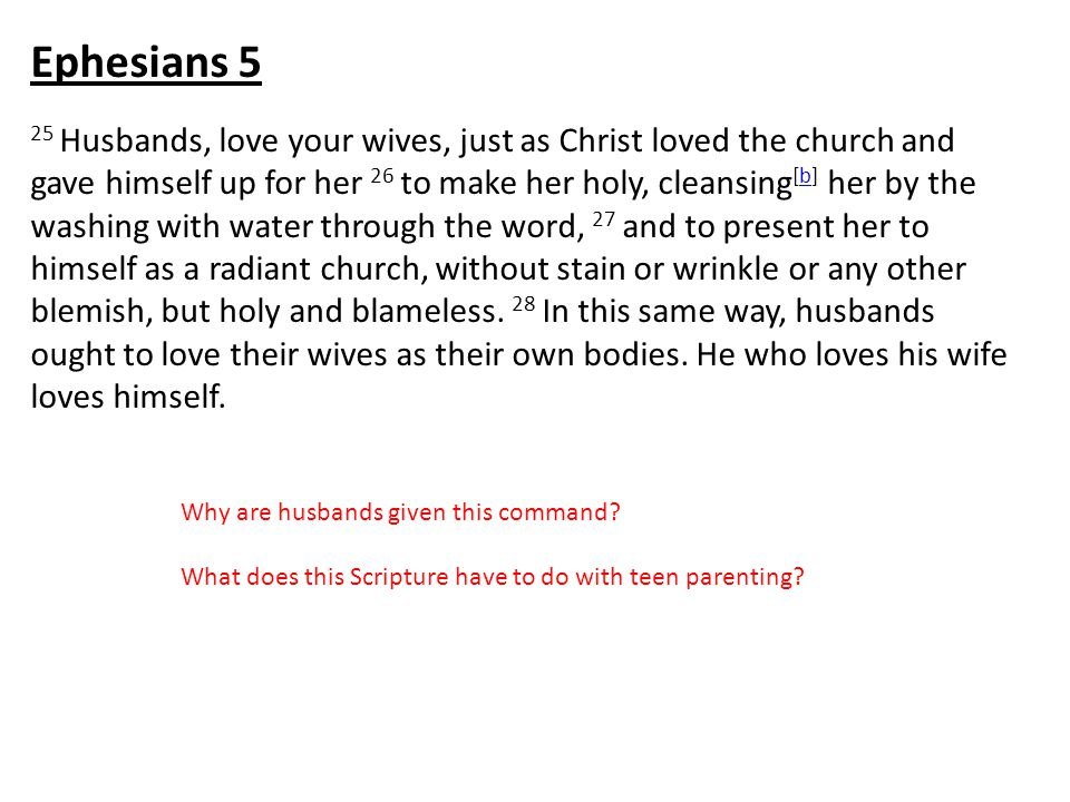25 Husbands, love your wives, just as Christ loved the church and gave himself up for her 26 to make her holy, cleansing [b] her by the washing with water through the word, 27 and to present her to himself as a radiant church, without stain or wrinkle or any other blemish, but holy and blameless.