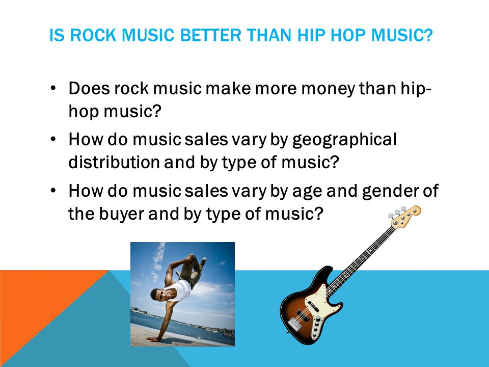IS ROCK MUSIC BETTER THAN HIP HOP MUSIC? Does rock music make more money than hip- hop music? How do music sales vary by geographical distribution and
