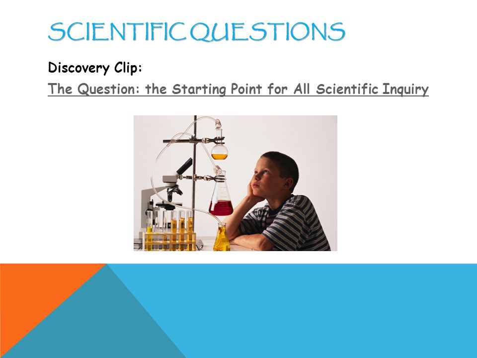SCIENTIFIC QUESTIONS Discovery Clip: The Question: the Starting Point for All Scientific Inquiry