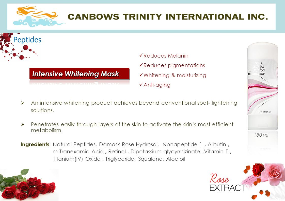  An intensive whitening product achieves beyond conventional spot- lightening solutions.