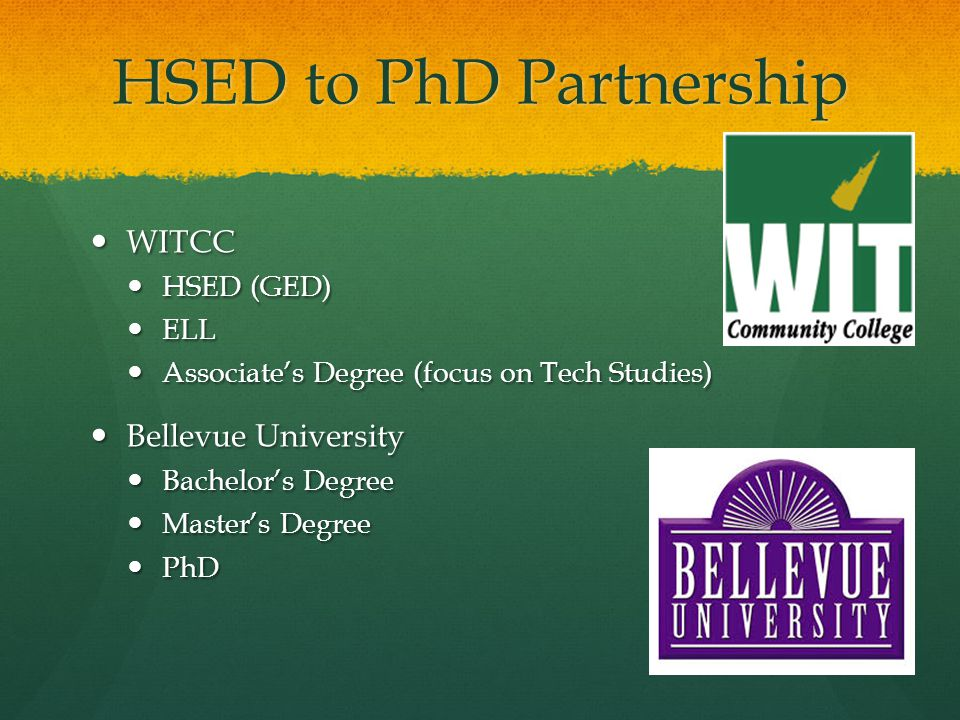HSED to PhD Partnership WITCC WITCC HSED (GED) HSED (GED) ELL ELL Associate's Degree (focus on Tech Studies) Associate's Degree (focus on Tech Studies) Bellevue University Bellevue University Bachelor's Degree Bachelor's Degree Master's Degree Master's Degree PhD PhD