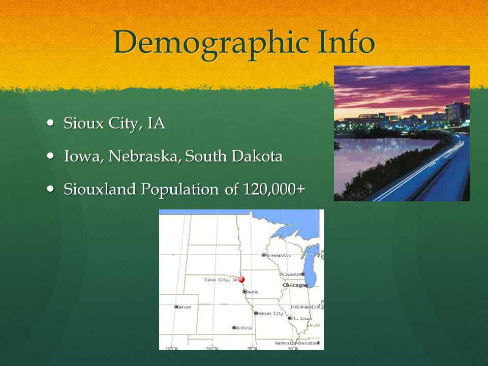 Demographic Info Sioux City, IA Sioux City, IA Iowa, Nebraska, South Dakota Iowa, Nebraska, South Dakota Siouxland Population of 120,000+ Siouxland Population of 120,000+