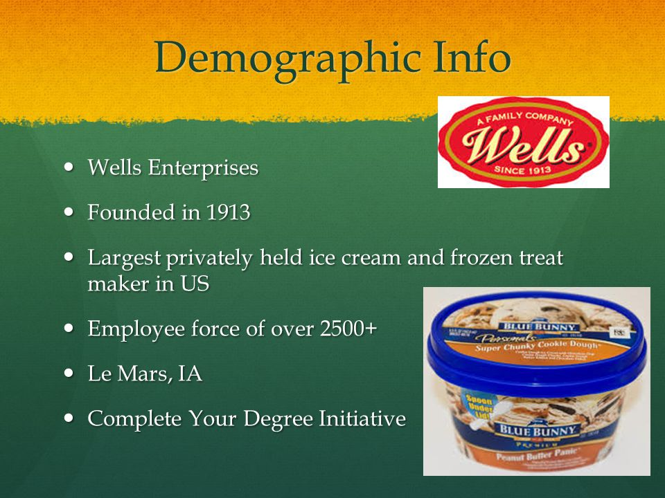 Demographic Info Wells Enterprises Wells Enterprises Founded in 1913 Founded in 1913 Largest privately held ice cream and frozen treat maker in US Largest privately held ice cream and frozen treat maker in US Employee force of over 2500+ Employee force of over 2500+ Le Mars, IA Le Mars, IA Complete Your Degree Initiative Complete Your Degree Initiative