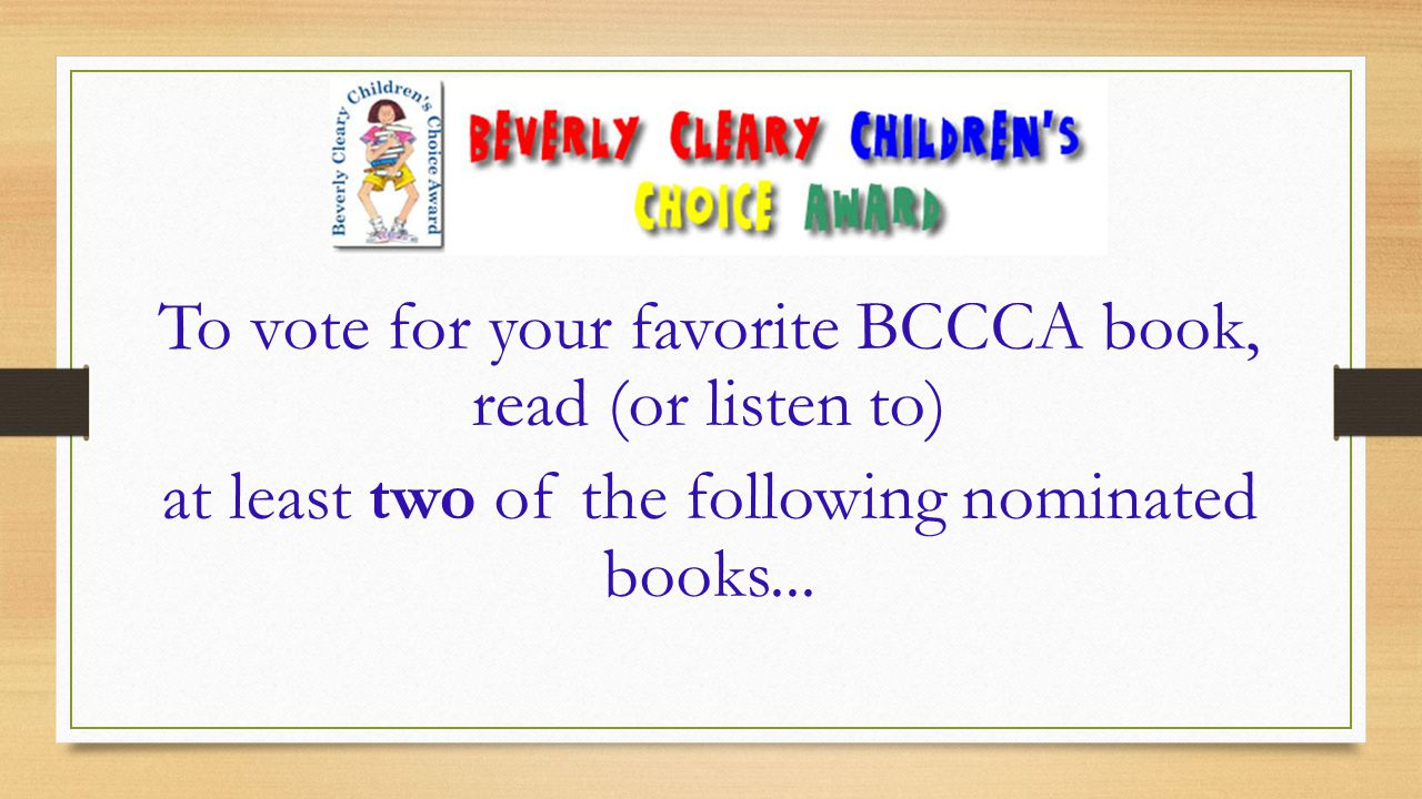 2015 Beverly Cleary Children's Choice Nominations