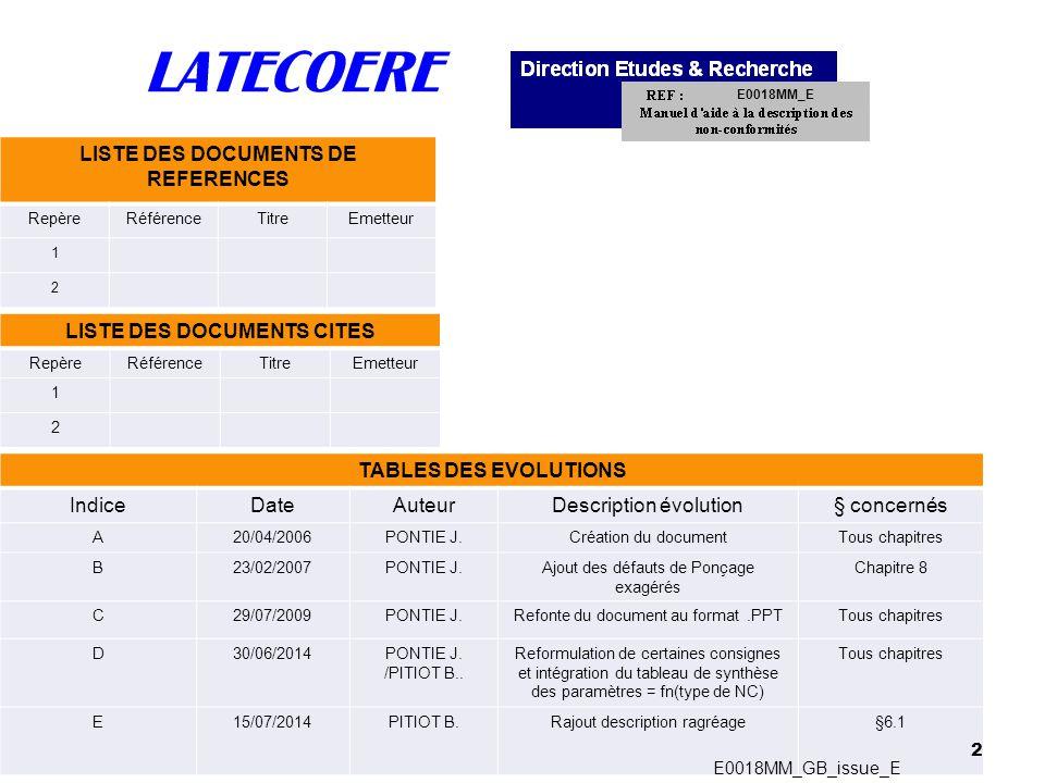 23 6 –List of damages Composite Non-Conformities Metal or composite Non-Conformities Metal or composite Non-Conformities E0018MM_GB_issue_E