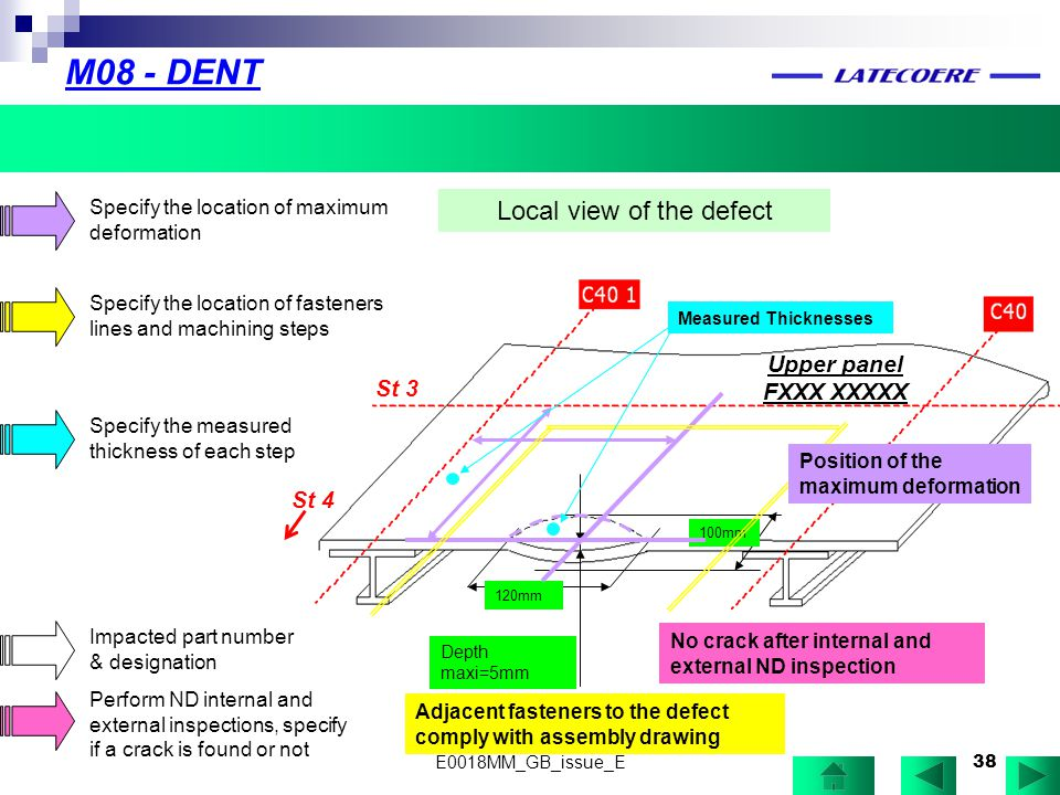 38 M08 - DENT Local view of the defect Depth maxi=5mm 100mm 120mm Specify the location of maximum deformation Specify the location of fasteners lines