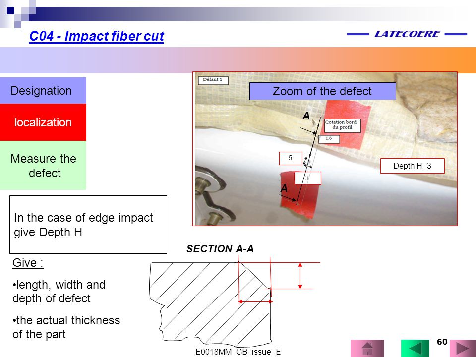 60 localization Designation Measure the defect In the case of edge impact give Depth H Depth H=3 3 5 Zoom of the defect A A Give : length, width and d