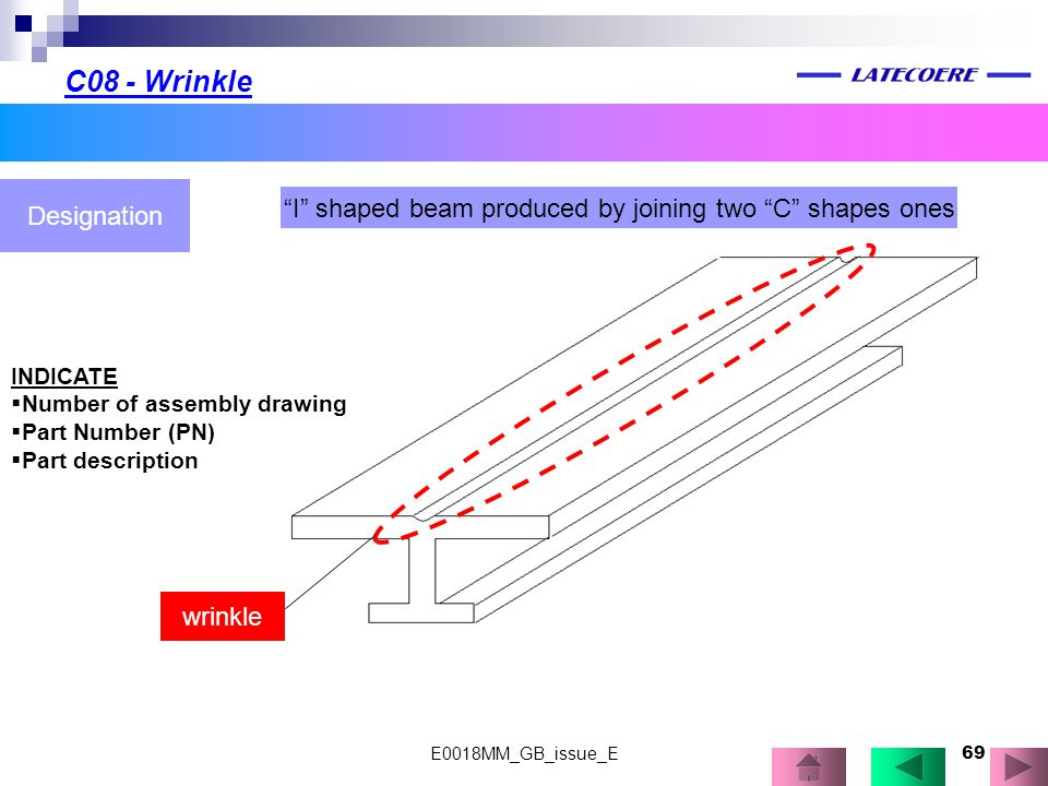 "69 C08 - Wrinkle Designation ""I"" shaped beam produced by joining two ""C"" shapes ones wrinkle INDICATE  Number of assembly drawing  Part Number (PN)"