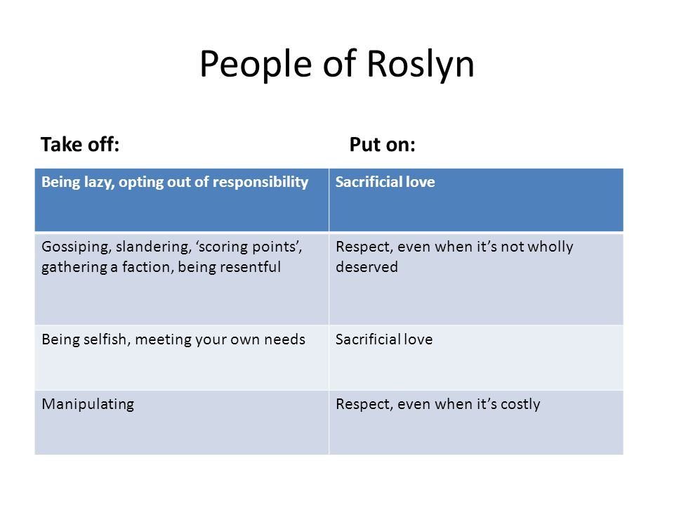 People of Roslyn Take off:Put on: Being lazy, opting out of responsibilitySacrificial love Gossiping, slandering, 'scoring points', gathering a faction, being resentful Respect, even when it's not wholly deserved Being selfish, meeting your own needsSacrificial love ManipulatingRespect, even when it's costly