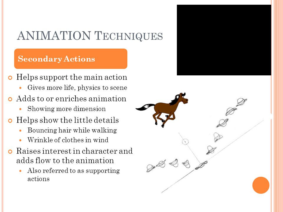 ANIMATION T ECHNIQUES Helps support the main action Gives more life, physics to scene Adds to or enriches animation Showing more dimension Helps show