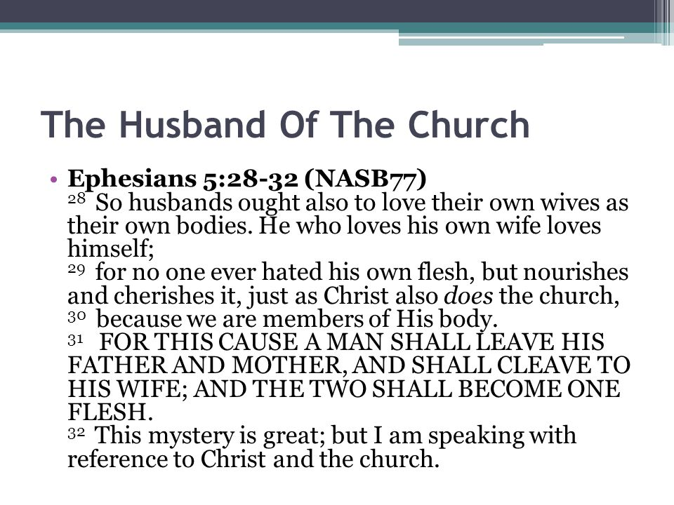 The Husband Of The Church Ephesians 5:28-32 (NASB77) 28 So husbands ought also to love their own wives as their own bodies.