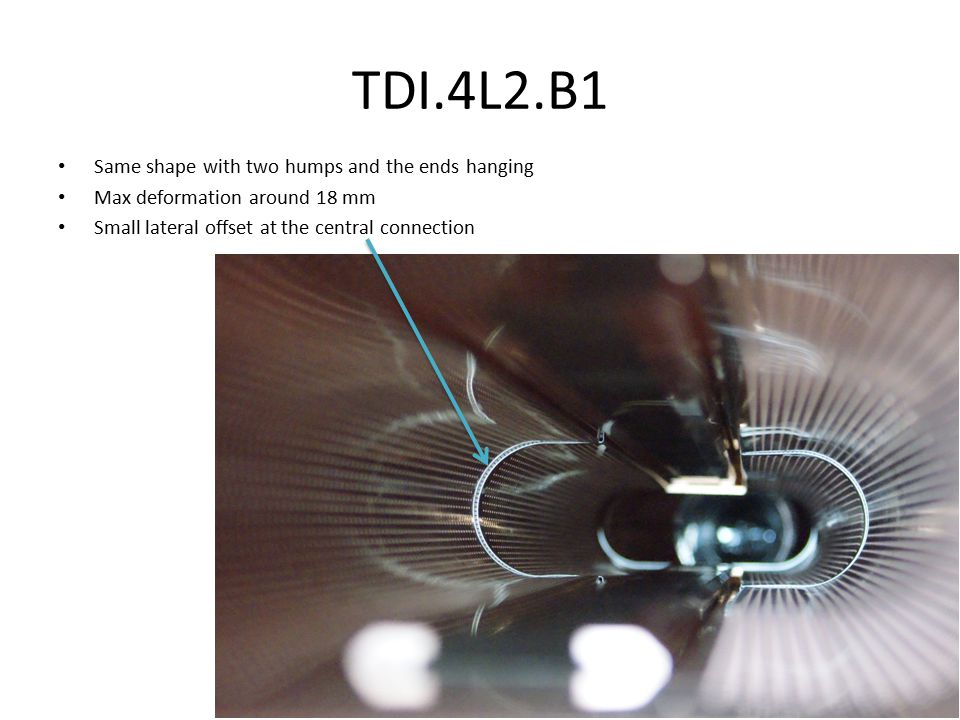 TDI.4L2.B1 Same shape with two humps and the ends hanging Max deformation around 18 mm Small lateral offset at the central connection