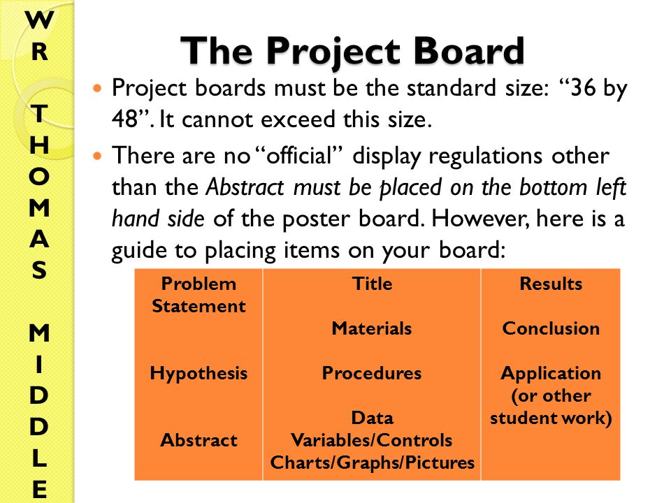 The Project Board Project boards must be the standard size: 36 by 48 .
