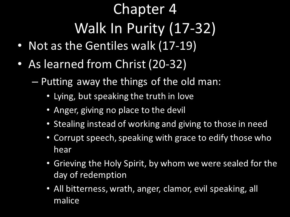 Chapter 4 Walk In Purity – Instead be kind to one another Tender-hearted Forgiving Just as God in Christ forgave us