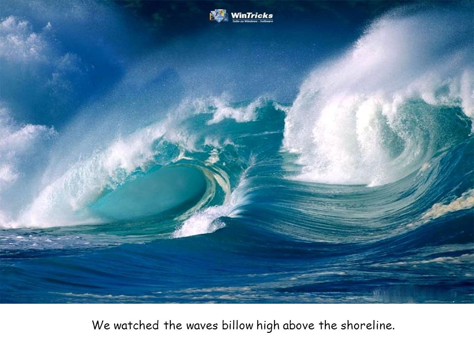 We watched the waves billow high above the shoreline.