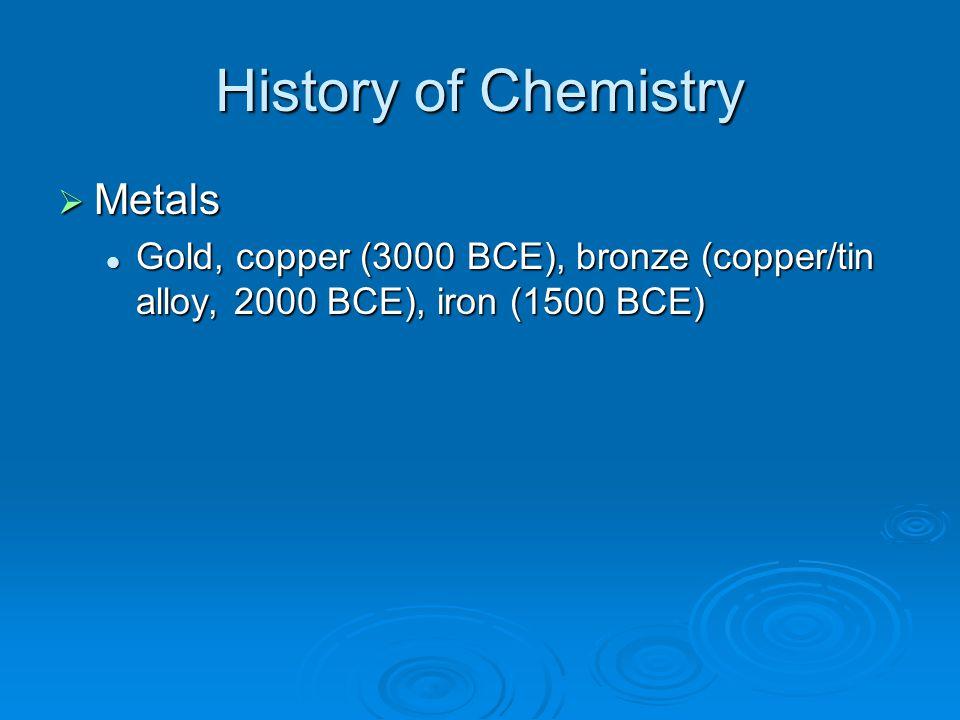 History of Chemistry  Metals Gold, copper (3000 BCE), bronze (copper/tin alloy, 2000 BCE), iron (1500 BCE) Gold, copper (3000 BCE), bronze (copper/ti
