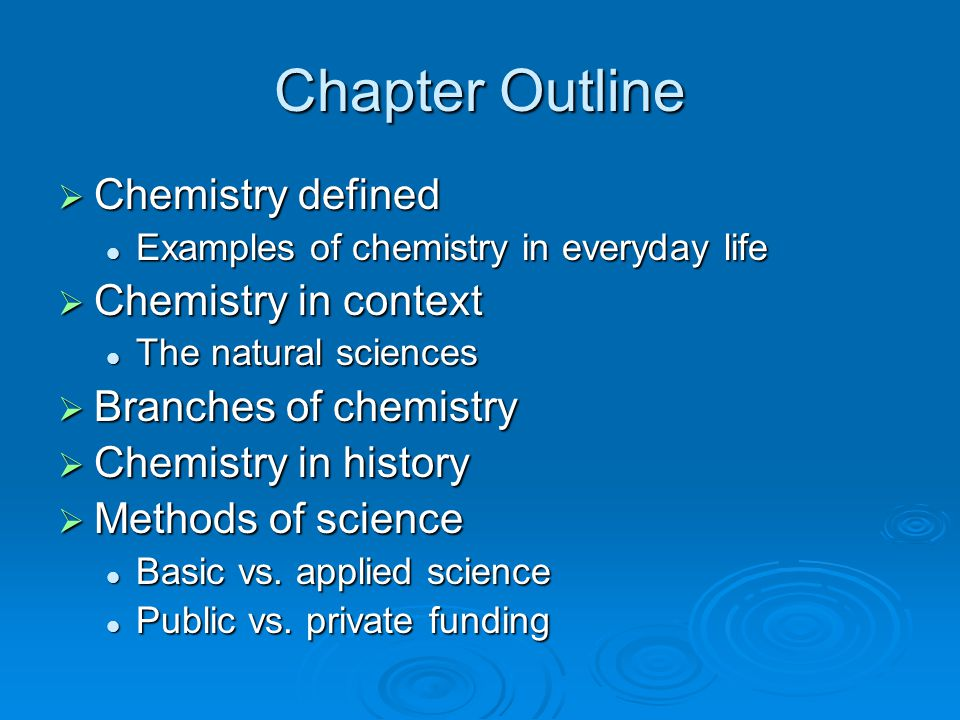 Chapter Outline  Chemistry defined Examples of chemistry in everyday life Examples of chemistry in everyday life  Chemistry in context The natural s