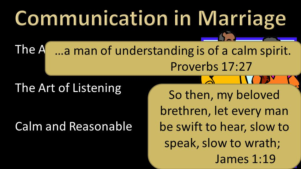 The Art of Speaking The Art of Listening Calm and Reasonable Speech So then, my beloved brethren, let every man be swift to hear, slow to speak, slow to wrath; James 1:19 …a man of understanding is of a calm spirit.
