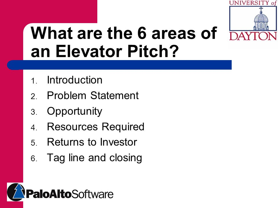 What are the 6 areas of an Elevator Pitch. 1. Introduction 2.