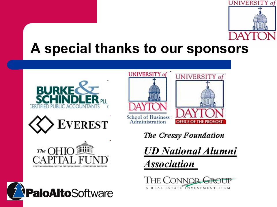 A special thanks to our sponsors UD National Alumni Association