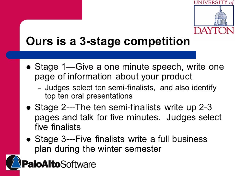 Ours is a 3-stage competition Stage 1—Give a one minute speech, write one page of information about your product – Judges select ten semi-finalists, and also identify top ten oral presentations Stage 2---The ten semi-finalists write up 2-3 pages and talk for five minutes.