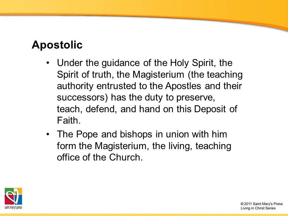Apostolic The Holy Spirit protects the Church from error in its teaching authority.