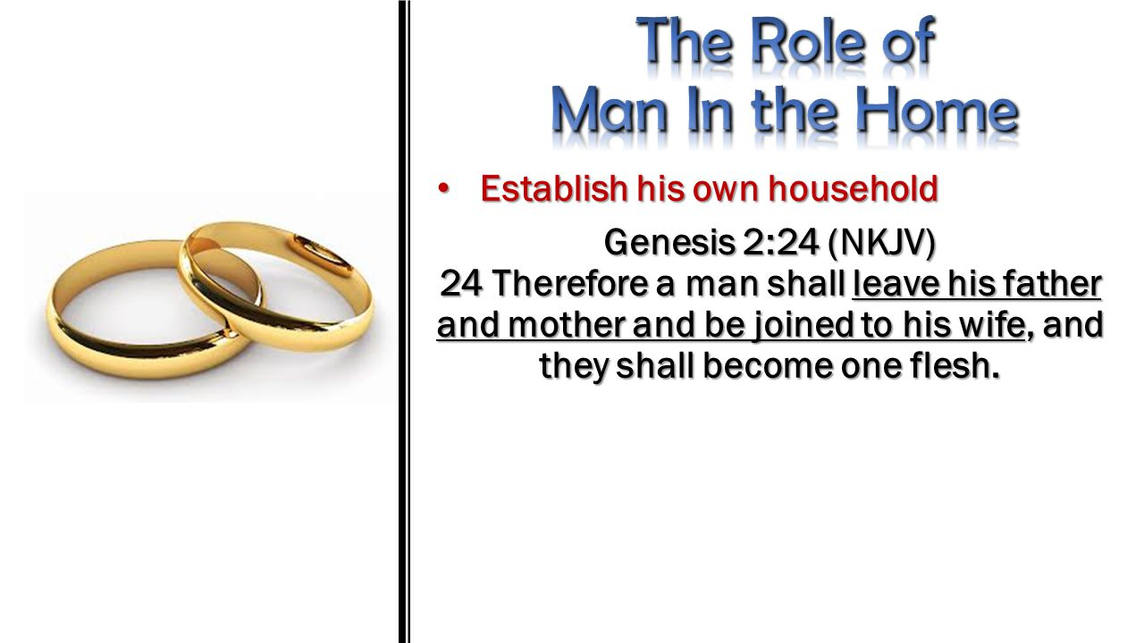 Establish his own household Establish his own household Genesis 2:24 (NKJV) 24 Therefore a man shall leave his father and mother and be joined to his