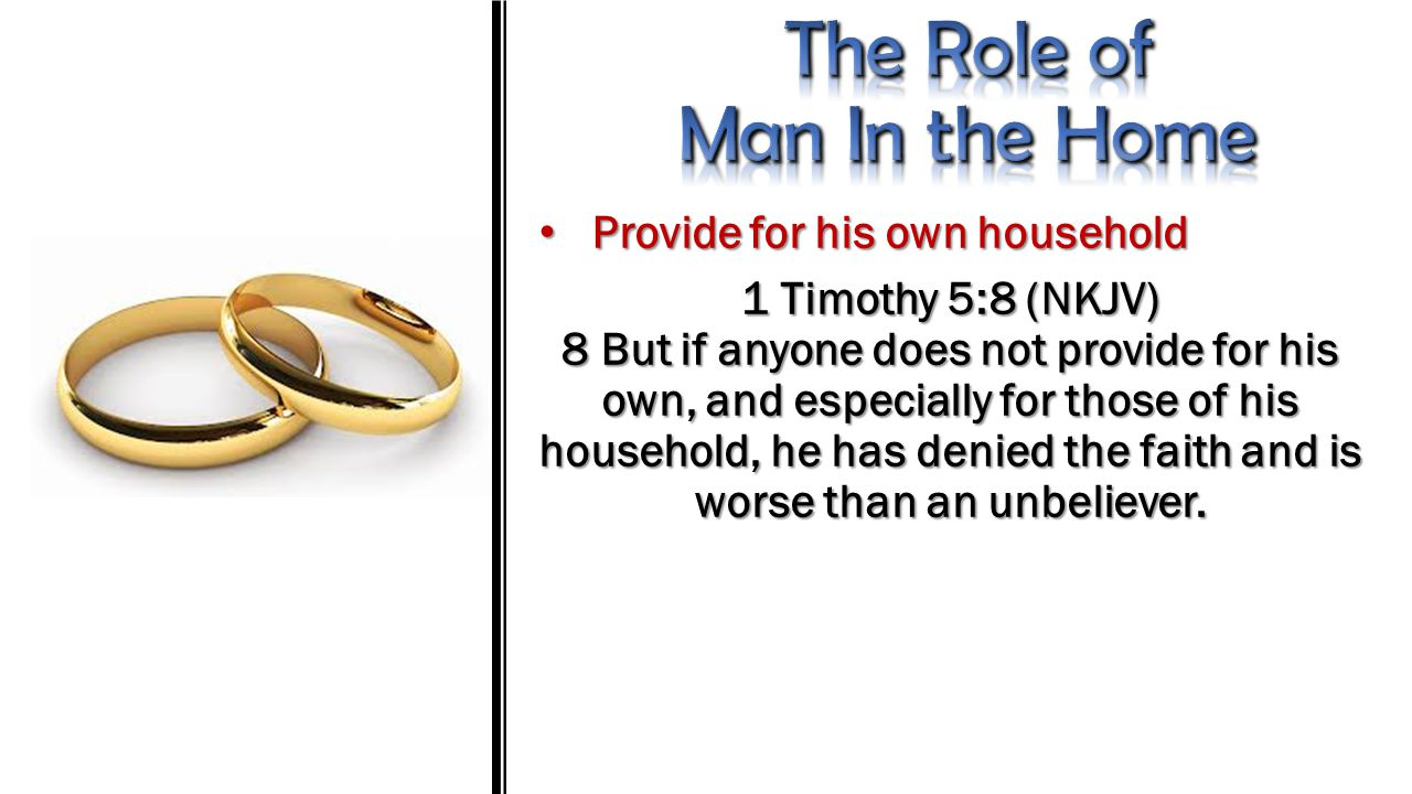 Provide for his own household Provide for his own household Exodus 21:10 (NKJV) 10 If he takes another wife, he shall not diminish her food, her clothing, and her marriage rights.
