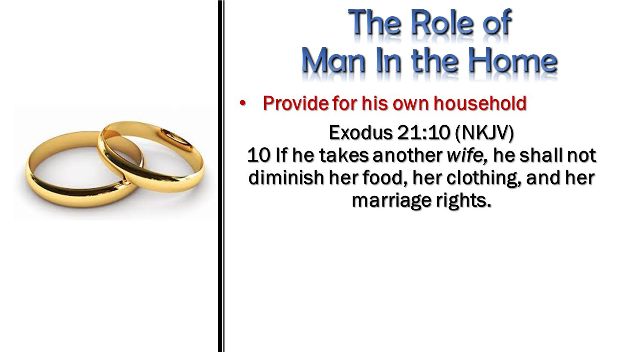Provide for his own household Provide for his own household Exodus 21:10 (NKJV) 10 If he takes another wife, he shall not diminish her food, her cloth