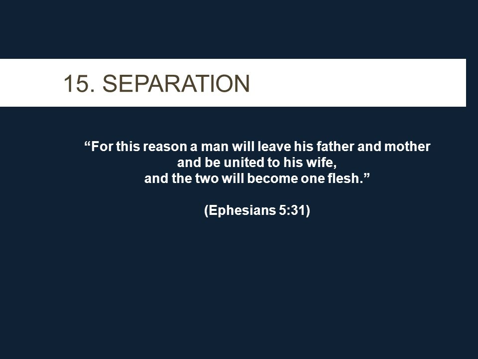 """15. SEPARATION """"For this reason a man will leave his father and mother and be united to his wife, and the two will become one flesh."""" (Ephesians 5:31)"""