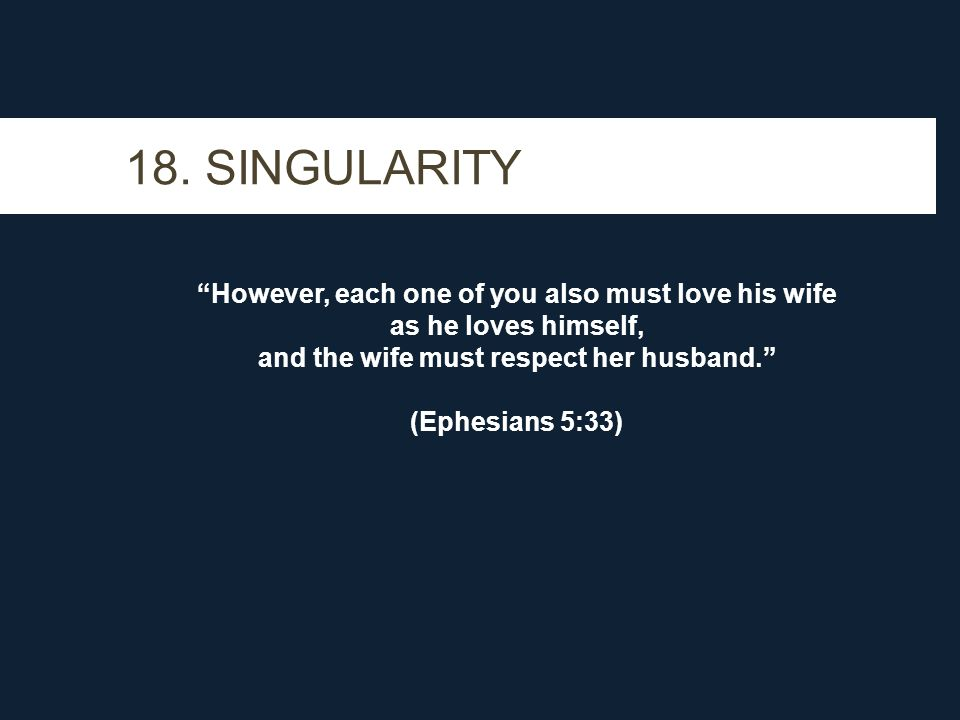 """18. SINGULARITY """"However, each one of you also must love his wife as he loves himself, and the wife must respect her husband."""" (Ephesians 5:33)"""