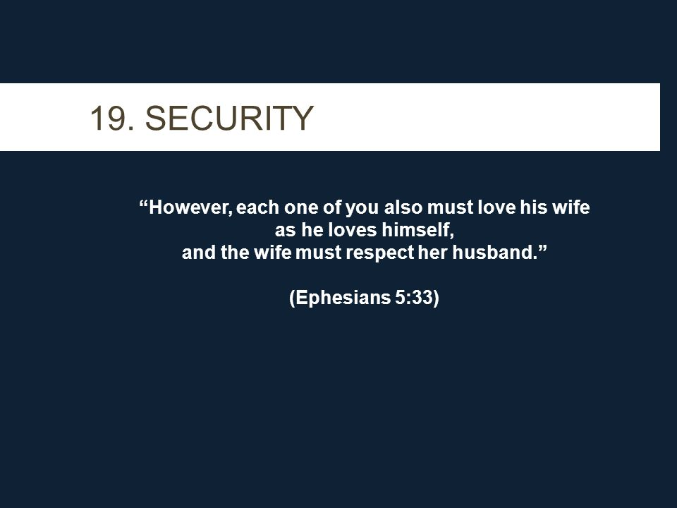 """19. SECURITY """"However, each one of you also must love his wife as he loves himself, and the wife must respect her husband."""" (Ephesians 5:33)"""