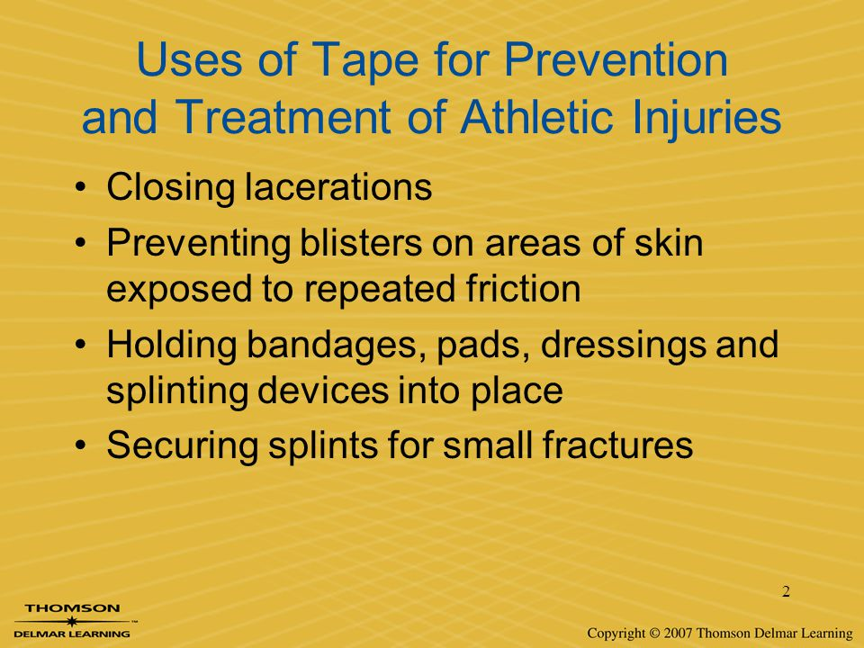 13 Removal of Adhesive Tape Careful observation while removing tape –Allows trainer to stop if there appears to be evidence of blistering or skin being pulled off with the tape