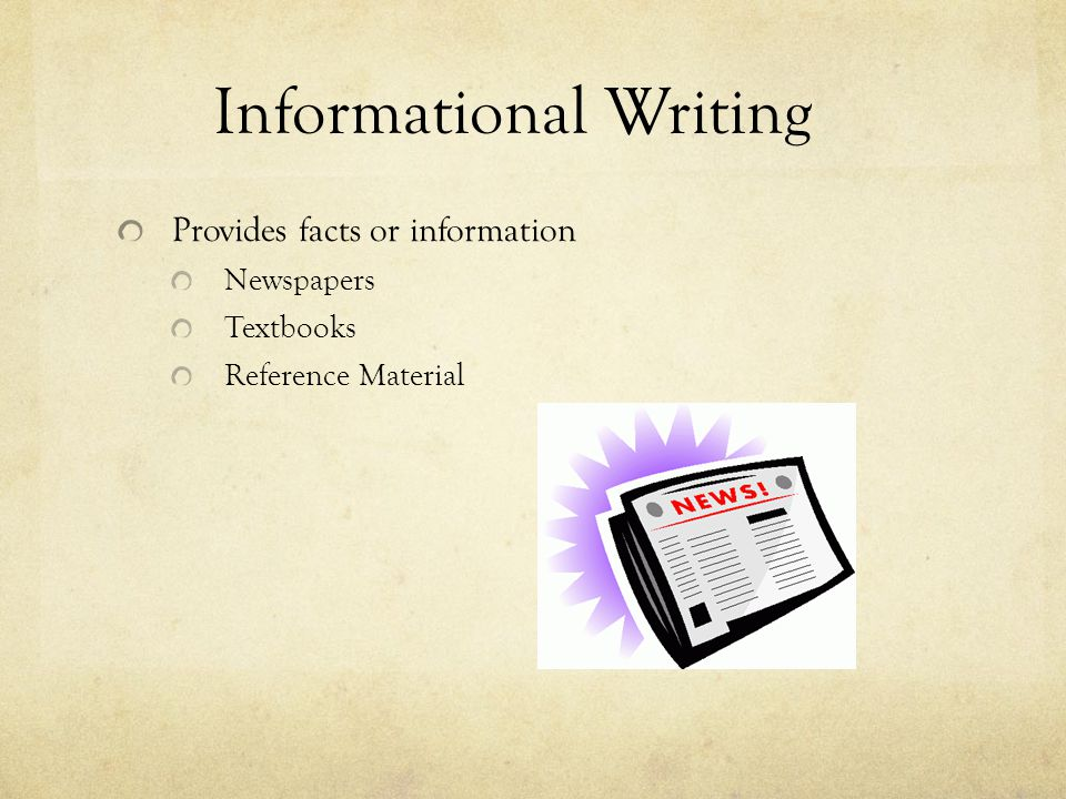 Provides facts or information Newspapers Textbooks Reference Material