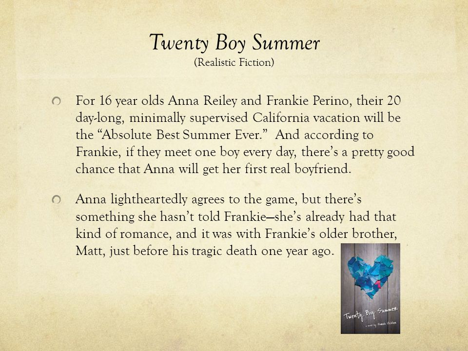 Twenty Boy Summer (Realistic Fiction) For 16 year olds Anna Reiley and Frankie Perino, their 20 day-long, minimally supervised California vacation wil