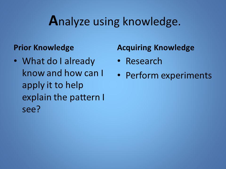 A nalyze using knowledge.