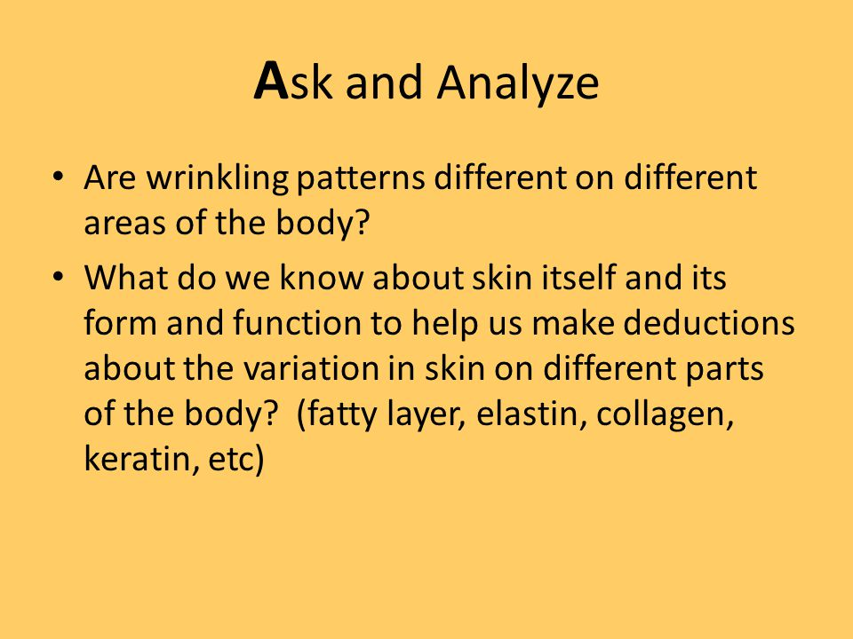 A sk and Analyze Are wrinkling patterns different on different areas of the body.
