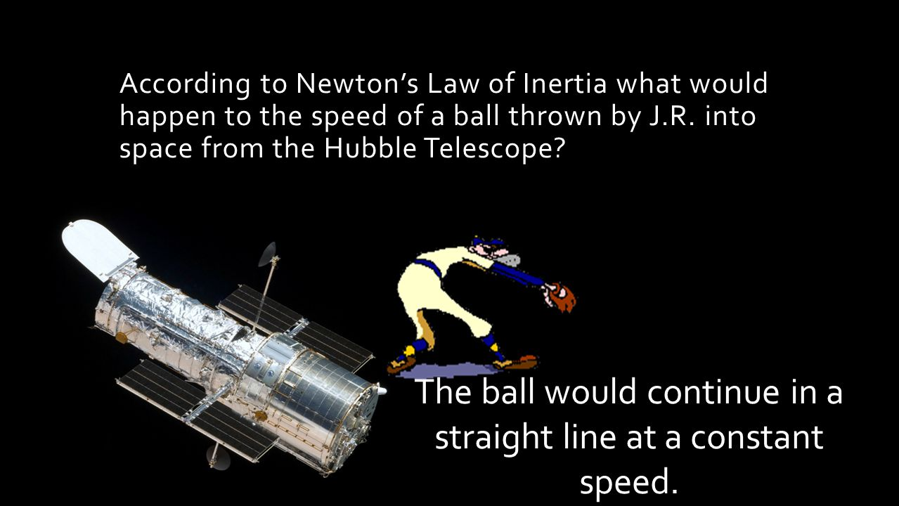According to Newton's Law of Inertia what would happen to the speed of a ball thrown by J.R.