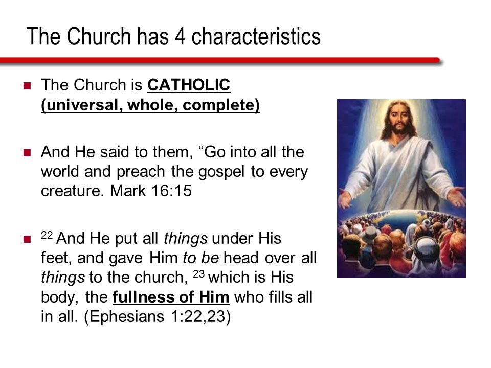 """The Church has 4 characteristics The Church is CATHOLIC (universal, whole, complete) And He said to them, """"Go into all the world and preach the gospel"""