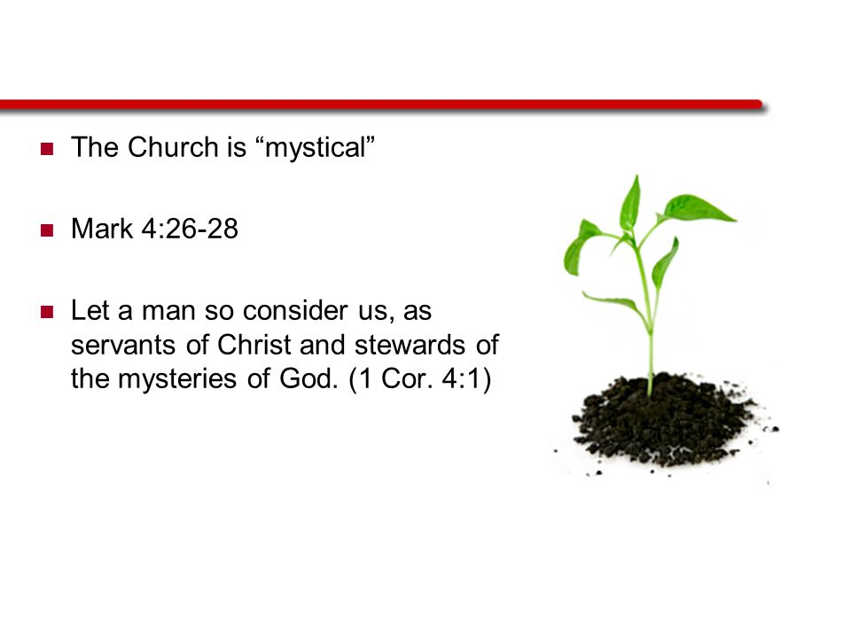 """The Church is """"mystical"""" Mark 4:26-28 Let a man so consider us, as servants of Christ and stewards of the mysteries of God. (1 Cor. 4:1)"""