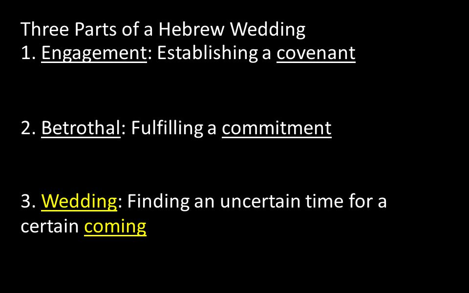 2. Betrothal: Fulfilling a commitment 3.