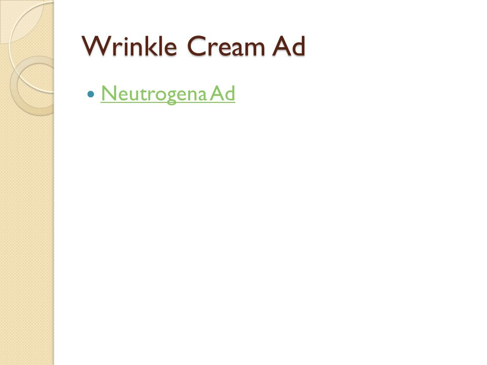 Wrinkle Cream Ad Neutrogena Ad