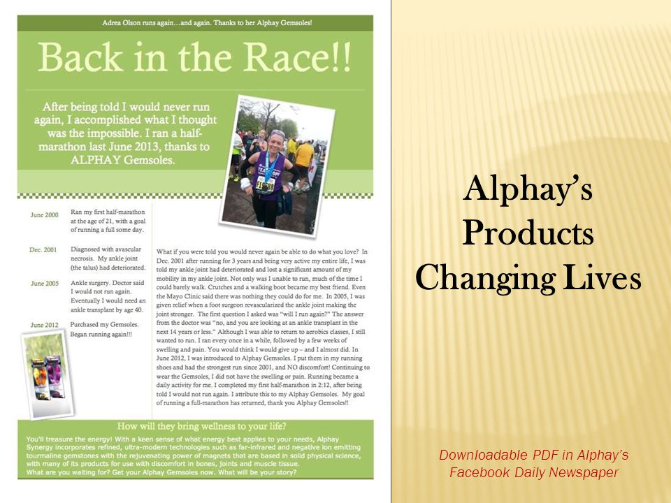 Alphay's Products Changing Lives Downloadable PDF in Alphay's Facebook Daily Newspaper