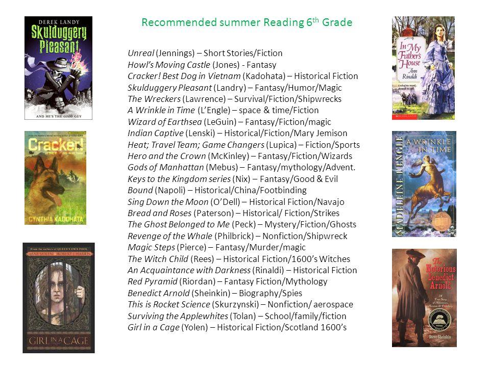 Recommended summer Reading 6 th Grade Unreal (Jennings) – Short Stories/Fiction Howl's Moving Castle (Jones) - Fantasy Cracker! Best Dog in Vietnam (K