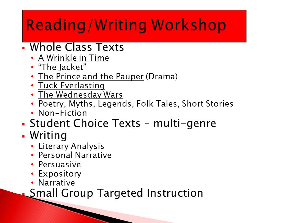 " Whole Class Texts A Wrinkle in Time ""The Jacket"" The Prince and the Pauper (Drama) Tuck Everlasting The Wednesday Wars Poetry, Myths, Legends, Folk"