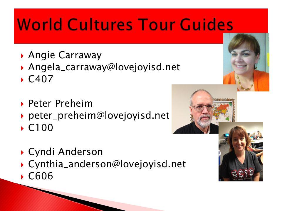  Angie Carraway  Angela_carraway@lovejoyisd.net  C407  Peter Preheim  peter_preheim@lovejoyisd.net  C100  Cyndi Anderson  Cynthia_anderson@lovejoyisd.net  C606