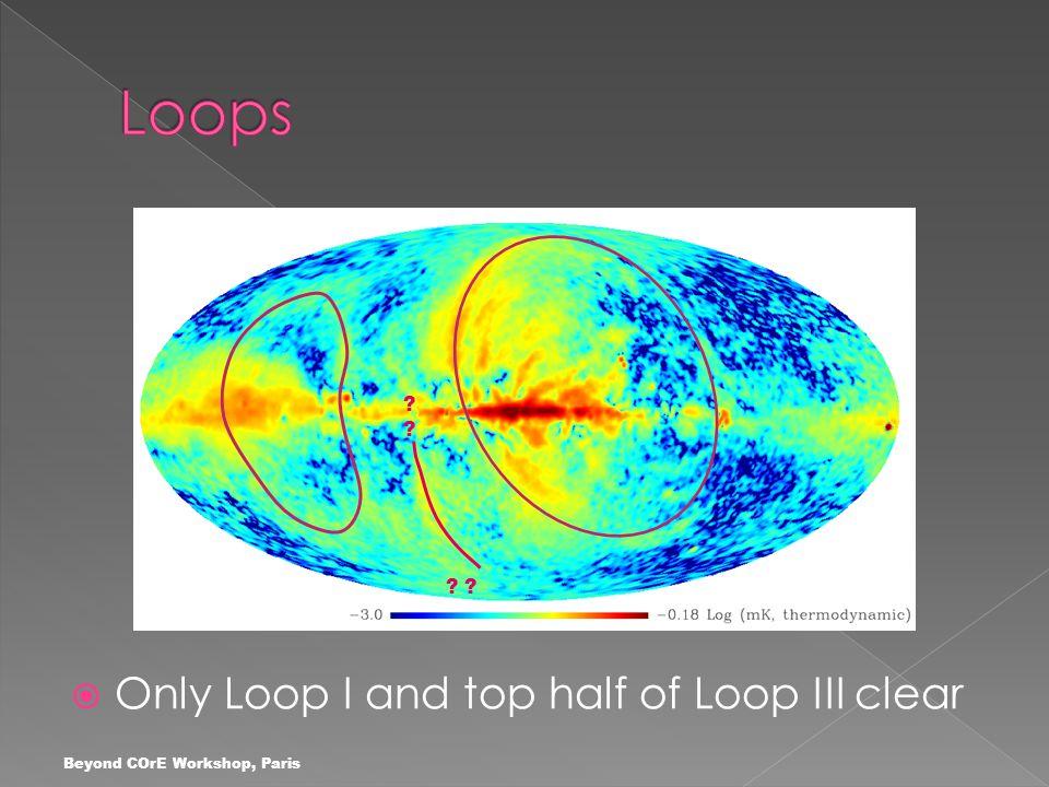 Beyond COrE Workshop, Paris  Only Loop I and top half of Loop III clear